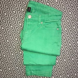 Gap Premium Skinny Crop Green Denim Ankle Jeans